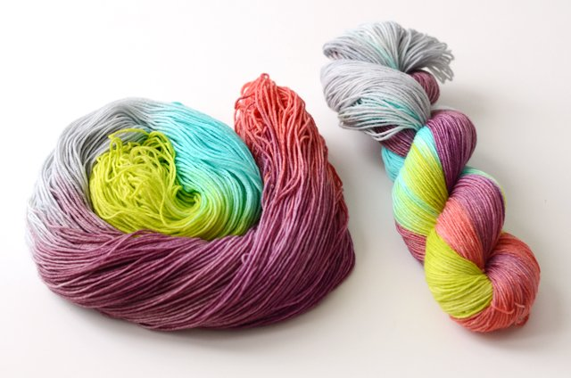 A skein of Ana's hand dyed yarn