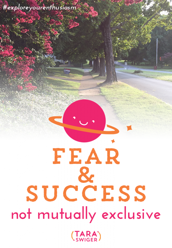 We think that we need to wait to feel fearless + confident before we can pursue our goals + be successful - but that just isn't true. At TaraSwiger.com.