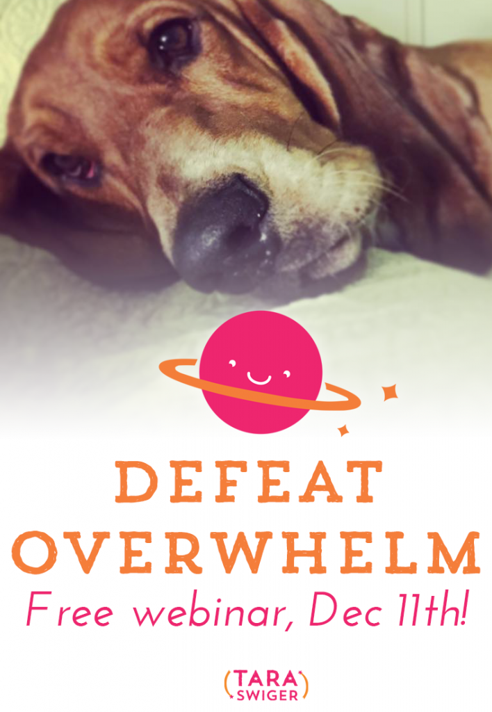 Join me on Friday, December 11 at 1pm EST for a FREE live online workshop on how to Defeat Overwhelm in your creative business and get your most important work done. Learn the only 4 things you need to focus on in your biz, and get rid of everything else that overwhelms you. Learn more at TaraSwiger.com/defeatoverwhelm