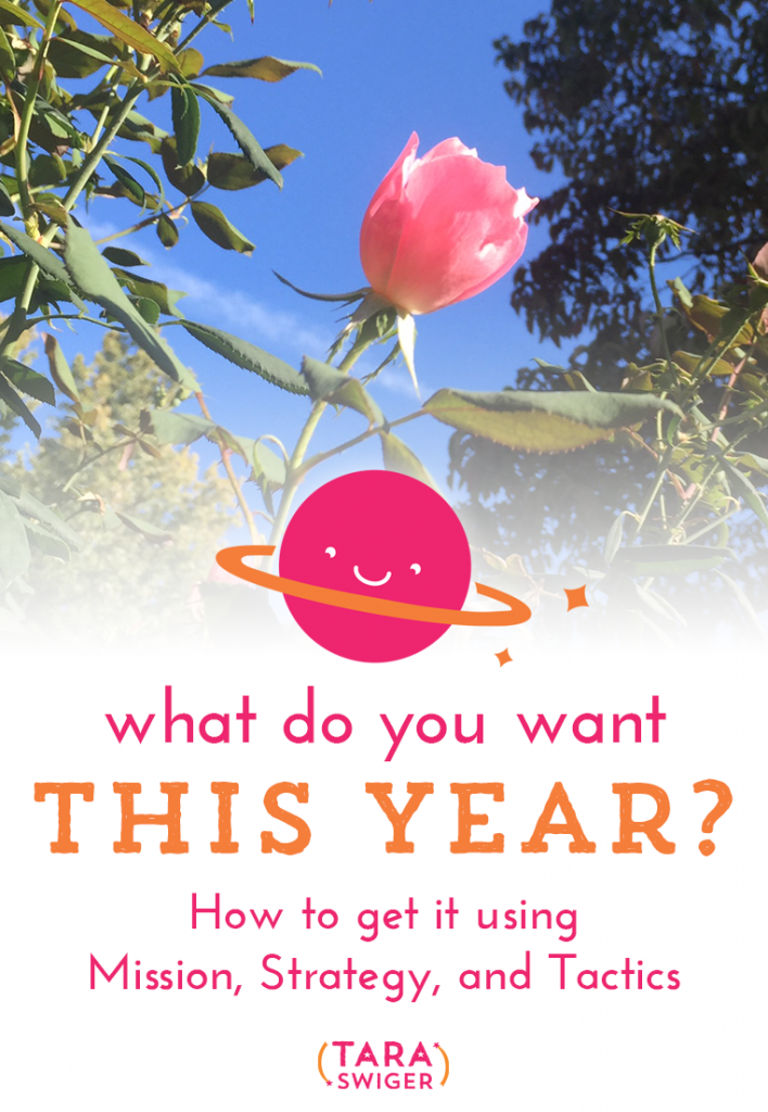 What do you want from this year? How are you going to get it? Let's get clear by using the framework Mission, then strategy, then tactics. More at TaraSwiger.com/podcast89/