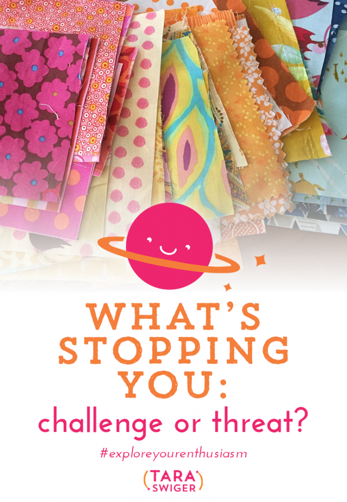 What's standing in your way? Let's face it - there are obstacles you'll face on your way to building your creative business. The question isn't how to avoid them, but how to overcome them. It comes down to how you approach them and think about them: Are these obstacles threats or challenges? In this episode we discuss the difference between a threat and a challenge reaction, and how to have a challenge mindset to the obstacles in your handmade business. This is inspired by one of the most popular lessons in the #monthofbizlove challenge: Threat vs Challenge Mindset. Listen to the episode at TaraSwiger.com/podcast114