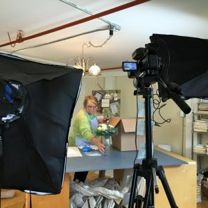 Behind the scenes of their collaborative video shoot for Linda's business