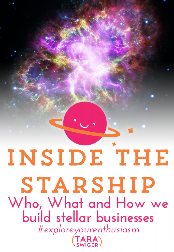 "Since 2010 I have led a private community for makers and artists who are serious about their creative businesses. In this episode of Explore Your Enthusiasm, I'm talking all about the ""behind the scenes"" of what happens in The Starship, listen in at TaraSwiger.com/podcast172"