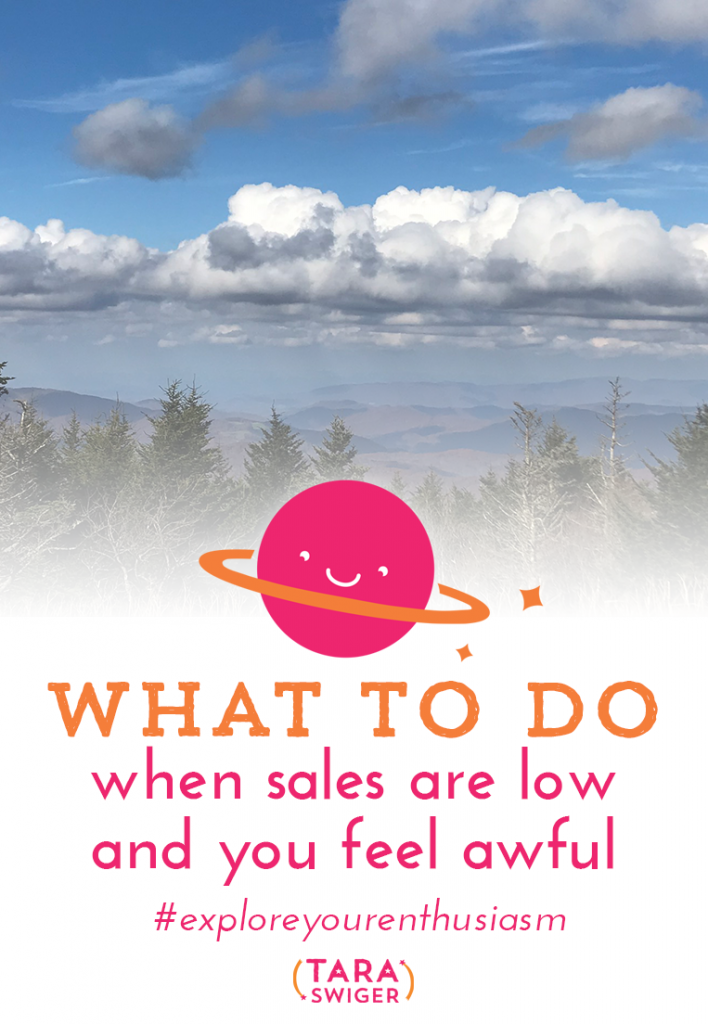 Every business goes through sales slumps, but in a creative business, it can be easy to let those slumps completely demotivate you. Learn how to stay motivated and productive through a slump in sales at TaraSwiger.com/podcast193