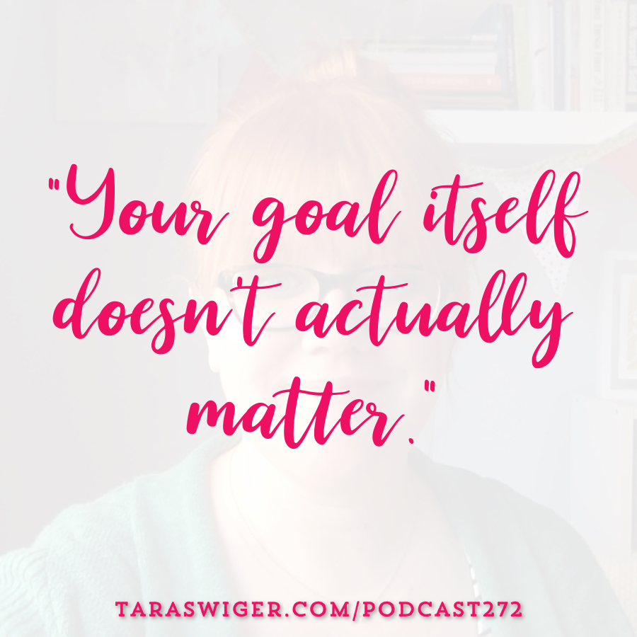 Setting goals for your creative business is a tricky thing. Sometime huge goals are super motivating, and some times they're totally paralyzing! Learn all about the key to achieving your big business goals at TaraSwiger.com/podcast272